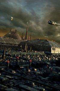 Vast sci-fi vista with futuristic city