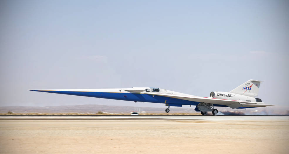 llustration of the completed X-59 QueSST landing on a runway. Credits: Lockheed Martin