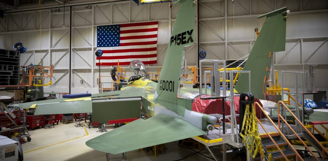 The first F-15EX takes shape in the St. Louis factory. It wears the Air Force serial 20-0001. (Photo: U.S. Air Force)